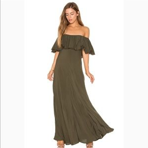 Blue Life Aphrodite Ruffle Maxi Dress - Olive